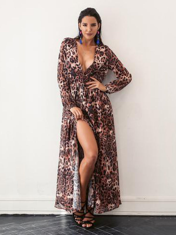 Fashion V-neck Leopard Print Maxi Dress