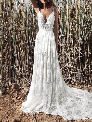 Deep V-neck Backless Big Hem Wedding Dress