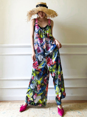 Retro Flower Printed V-neck Jumpsuit