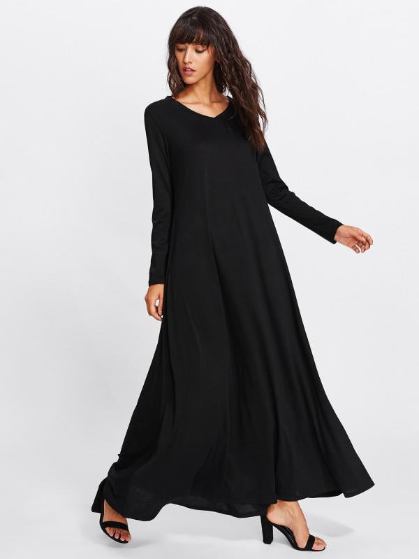 527bbd97060 Simple Black Long Sleeves Maxi Dress – oshoplive