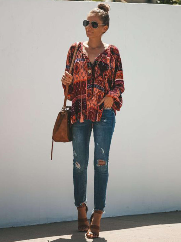 Floral-Print Long Sleeve Bohemia T-Shirt Tops