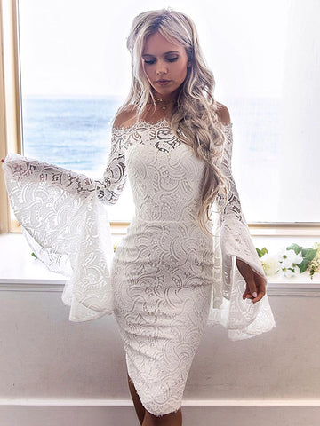 7300748d34 Sexy Lace Flared Sleeves Bodycon Off-the-shoulder Midi Dress