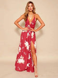 Bohemia Floral Spaghetti-neck Split-side Maxi Dress