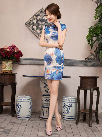 Perfect Blue Floral Cap Sleeve Turtle Neck Side Split Short Cheongsam