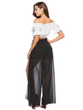 Chiffon Elastic Waist Split-side Casual Pants Bottoms
