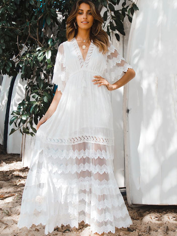 K'Mich Weddings - wedding planning - wedding dresses - Hollow Split-joint V-neck Maxi Dress - oshoplive