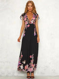 Deep V-neck Floral Split-side Maxi Dress