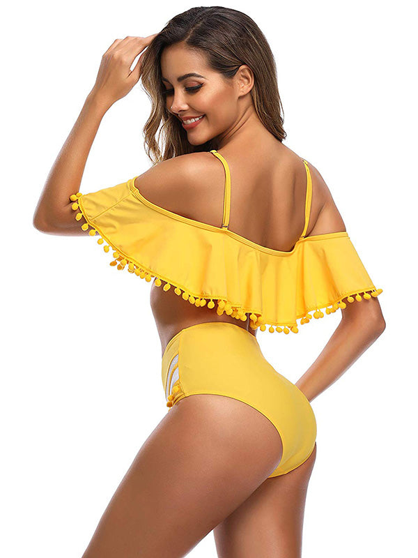 Fashion Off-the-shoulder Tassel Bikini Swimsuit