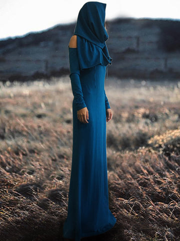 Shoulder Hollow Scarf Maxi Dress