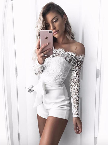 Sexy Lace Off-the-shoulder Jumpsuits
