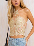 Sexy Lace Halter Straps with Zipper Small T-Shirt Tops