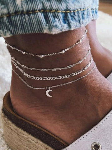 Bohemian Moon Beads Four-pieces Footchain Accessories