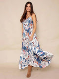 Floral Spaghetti Neck Backless Maxi Dresses