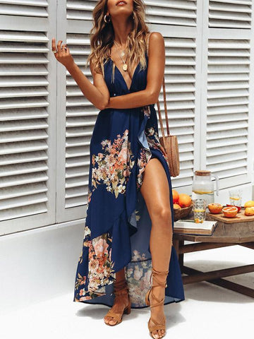 Bohemia Floral V-neck Backless Split-side Maxi Dress