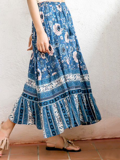 Bohemia Loose Blue Floral Beach Skirt