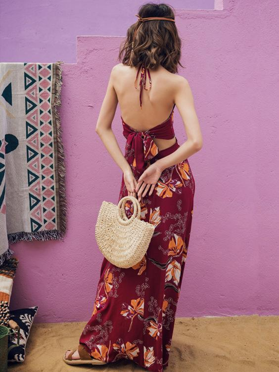 Bohemia Floral V-neck Backless Maxi Dress