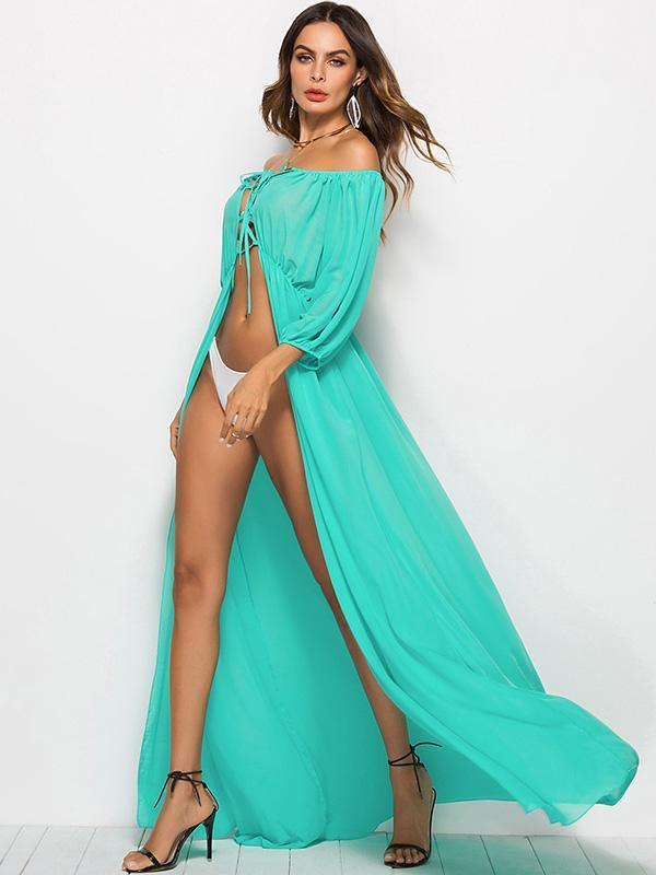 Off-the-shoulder Lace-up Maxi Dress