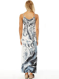 Printed Spaghetti-neck Pockets Maxi Dress