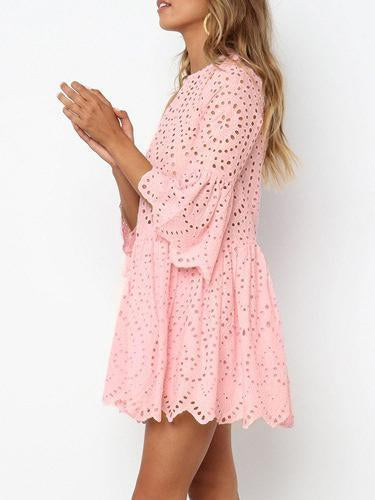 Bohemia Hollow Flared Sleeves Mini Dresses