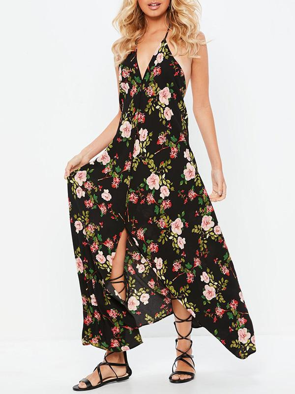 Floral Backless Bohemia Maxi Dresses