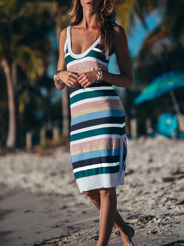 Colorful Striped Knitting Backless Cover-ups