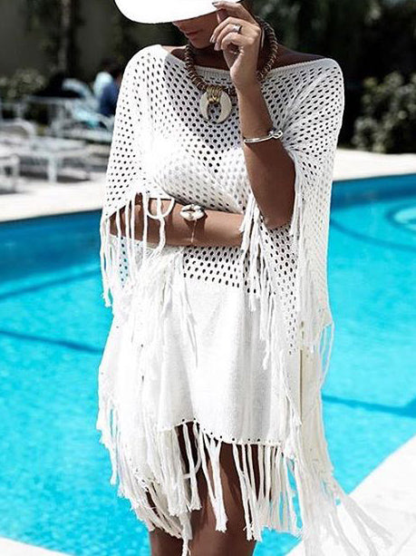 Hollow Knitting Tasseled Beach Cover-ups