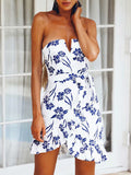 Asymmetric Strapless Printed Falbala Mini Dress