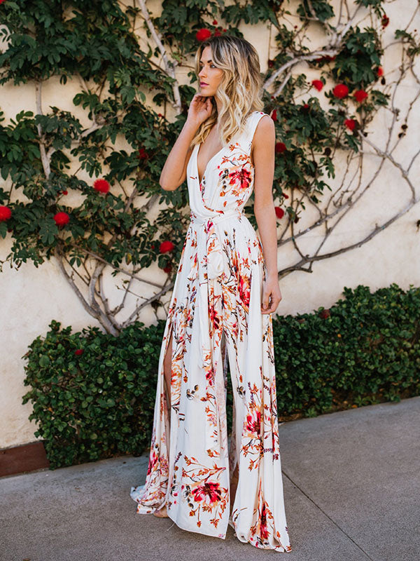 Bohemia Floral V-Neck Waisted Maxi Dress