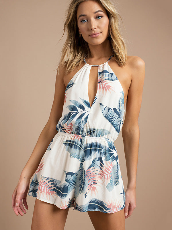 Floral Printed Lace-up Hollow Romper