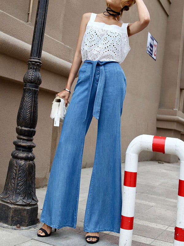 Belted Slim Fit Bell-Bottoms Jean Pants
