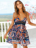 Floral Hollow Backless Mini Dress