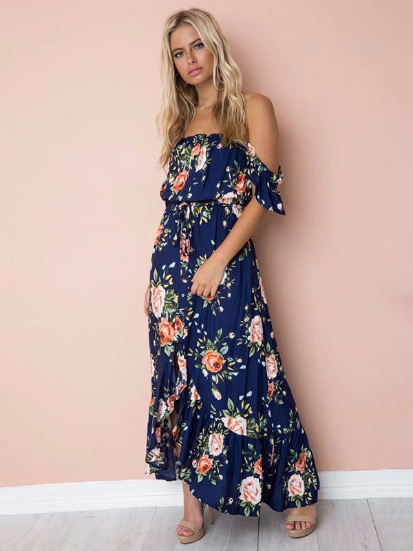 Bohemia Off-the-shoulder Backless Floral Maxi Dress