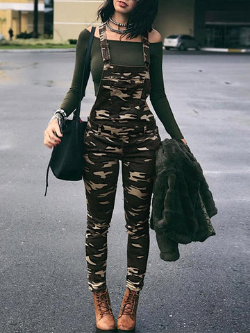 Camouflage Printed Casual Jumpsuit