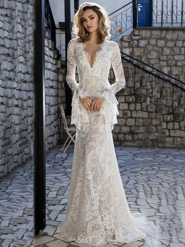 K'Mich Weddings - wedding planning - wedding dresses - lace flared sleeves v-back dress - oshoplive