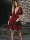 V-neck Bandage Waisted Short Sleeves Mini Dress