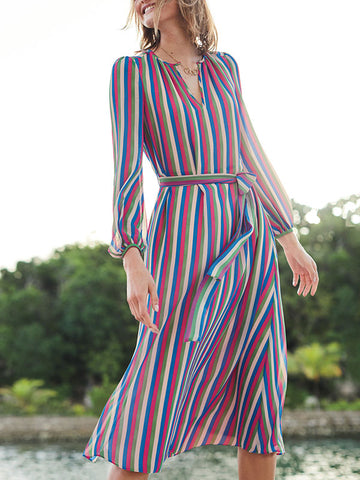 676ccf899842 4 Colors Stripe Printed Bandage Waist Maxi Dress Beach Cover-ups