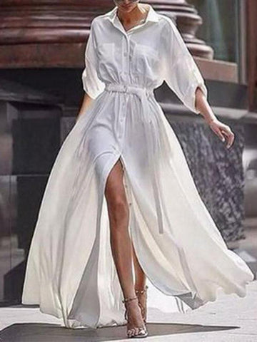 Pretty Solid Color Bohemia Long-sleeve Split-Side Maxi Dress