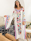 Pink Blue Fairy Sleeves Embroidered Maxi Dress