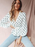 Polka Dot Falbala Puff Sleeves Blouses&Shirts Top