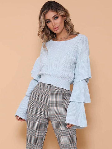 Solid Color Flared Long Sleeves Sweater Tops
