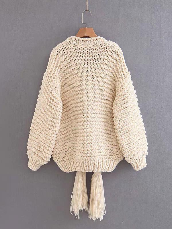 Hollow Knitting Bandage Long Sleeves Cardigan Tops