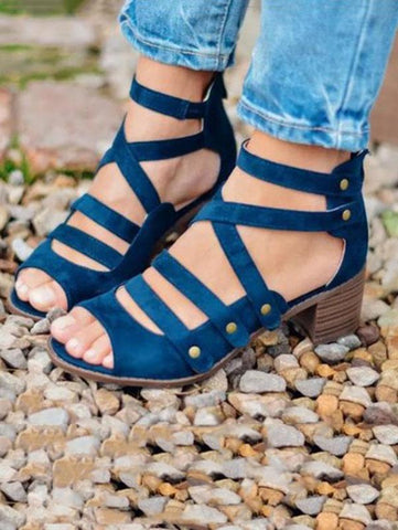 Fashion Open-toe Multi-Strap Mid-heel Sandals Shoes