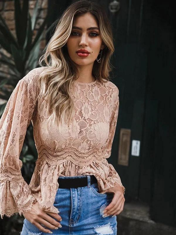 Lace Flared Long Sleeves Solid Color Hollow Tops
