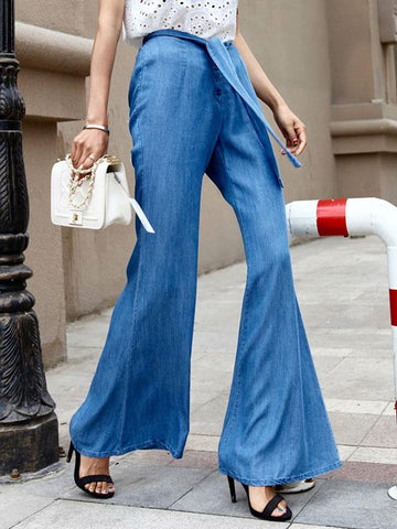 Fashion Solid Color Wide Leg Jean Pants Bottoms
