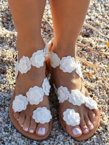 Fashion Flower Beach Flats Sandals