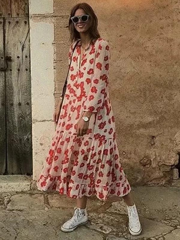 Bohemia Printed Chiffon Long Two Pieces Sleeves Maxi Dress