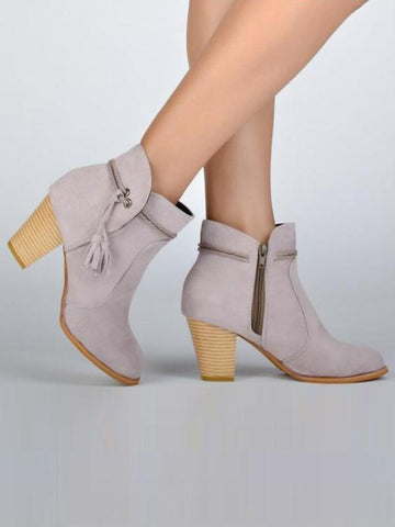 Fashion Tasseled High-heel Ankle Chelsea Boots Shoes