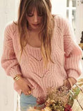 Fashion Solid Color Knitting Sweater Tops