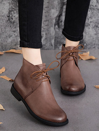 Solid Casual Low Heel Booties
