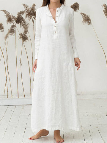 Plus Size Linen Cardigan Loose Maxi Dress
